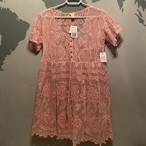 Shear Pink Babydoll Dress